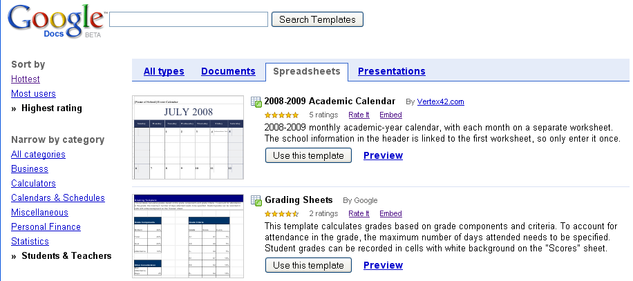 Screen shot of Google Templates for Teachers and Students